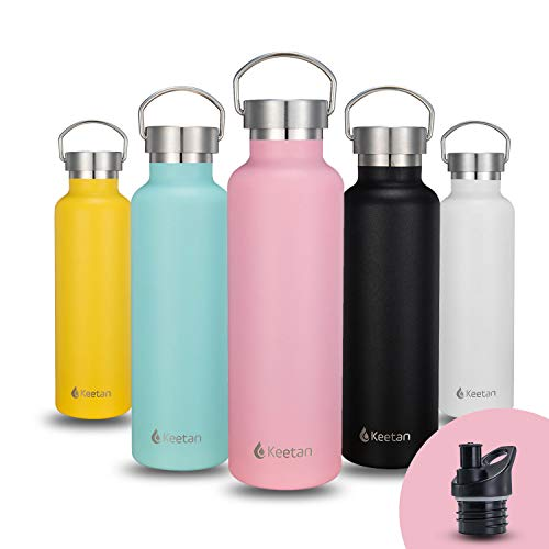 Stainless Steel Water Bottle, Reusable Sports Water Bottle - 2 Lids, Leak-Proof, BPA-Free, Keeps Cold for 24 Hours, Hot for 12 Hours, for Kids, School, Gym, Camping, Hiking