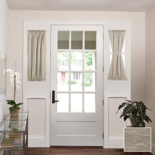 "H.VERSAILTEX Linen French Door Curtains Privacy Light Reducing Door Curtain with Tieback | Rod Pocket Curtain 2 Panels for Glass Door Feature Open Weave Textured Linen - 25""x40"" - Taupe"