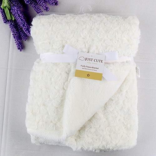 Manta de bebé recién nacido Manta térmica de vellón suave Manta de bebé envuelta envolvente Cobija de bebé Manta de bebe,Suave Manta caliente102cm x 76cm (40in * 29.9in) (Blanco)