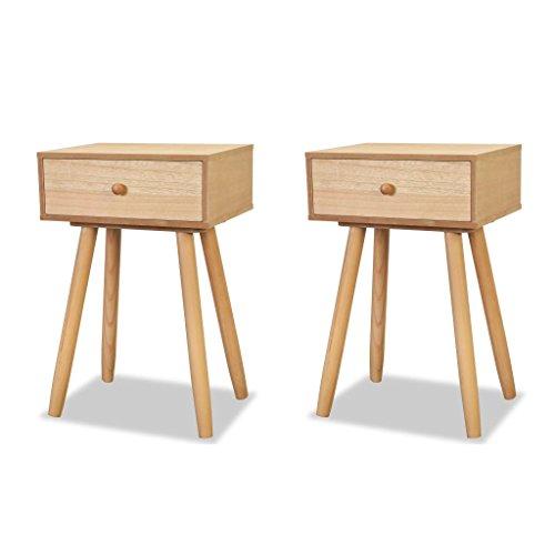 Festnight Set of 2pcs Wooden Bedside Tables Side Tables Storage Units Cabinets Bedroom Furniture with Drawer for Living Room, 40x30x61cm Brown