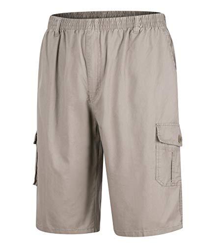 KTWOLEN Hombre Casual Pantalones Pantalón Corto Bermuda Shorts Pantalones Cortos Tipo Cargo (XXL, Beige)