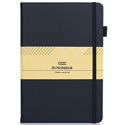 Travel Notebook/Journal, Classic Hard Cover Notebook, Thick Paper with Inner Pocket, Daily Planner, 5.75''×8.25'', Black