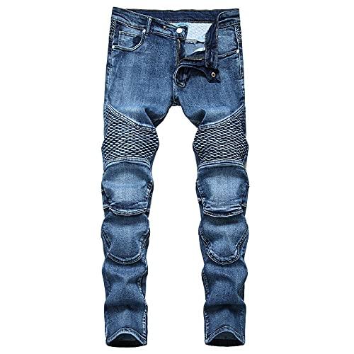 WQZYY&ASDCD Jeans Vaqueros Pantalon Pantalones Vaqueros De Bicicleta Elásticos Punk Hip Hop De Calle Rasgados para Hombre Agujeros De Moda Pantalones Vaqueros Rectos 29Inch 65Cno Belt
