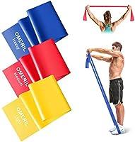 OMERIL Bande Elastiche Fitness (3 Pezzi), 2 m/ 1,5 m Fasce Elastiche con 3 Livelli di Resistenza, Fascia Elastica...