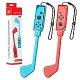 MoKo Palos de Golf Mario Compatible con Nintendo Switch Mario Golf: Super Rush, [2 PZS] Club de Golf Mario Mandos Giratorio Compatible con Switch/Switch OLED 2021 Joy-con Control, Rojo + Azul