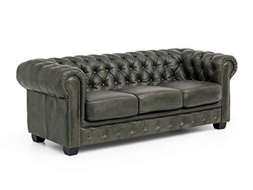 Woodkings® Chesterfield Sofa 3-Sitzer Grau Vintage Echtleder Couch Bürosofa Polstermöbel 3 Sitzer antik Designsofa Federkern unikat Herrenzimmer englisches Leder Stilsofa