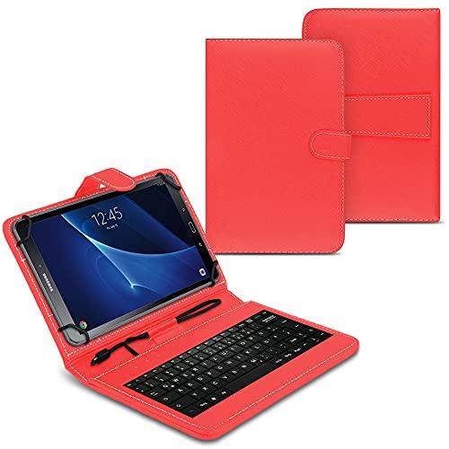NAUC Funda para tablet compatible con Samsung Galaxy Tab A6 10.1 2016 T580 T585 con teclado USB, color rojo