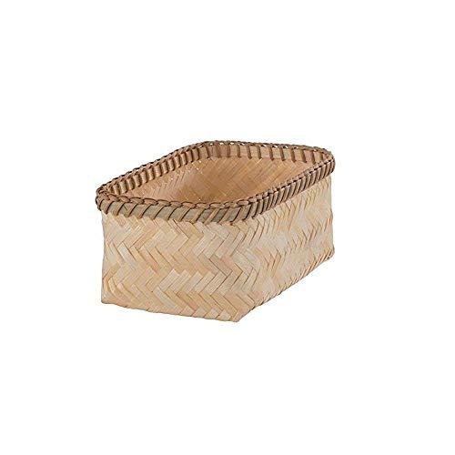 LDH Hecho a Mano Cesta de Almacenamiento de bambú, Natural, bambú, marrón, pequeña (Size : L)