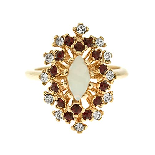 Providence Vintage Jewelry Jelly Opal with Ruby and Clear Swarovski Crystals 18k Yellow Gold Plated Cocktail Ring