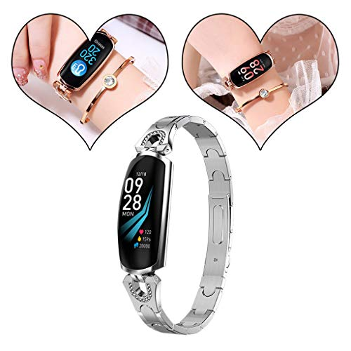 AMhomely® 2019 Women smart Watches AK16 Heart Rate Blood Pressure Smart Bracelet Fitness Tracker Smart Watch for IOS Android Bluetooth Watches Watch Fitness Tracker (Silber)