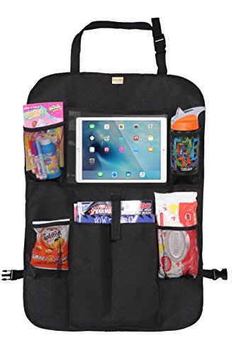 """Zohzo Car Back Seat Organizer with Tablet Holder - Touch Screen Pocket for Android & iOS Tablets up to 10.5"""" - Multipurpose Use as Auto Seat Back Protector, Kick Mat, Car Organizer"""