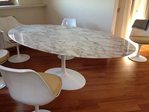 Mesa ovalada TULIP Eero Saarinen - 219x121, tablero de mesa en mármol Calcatta dorado MADE IN ITALY