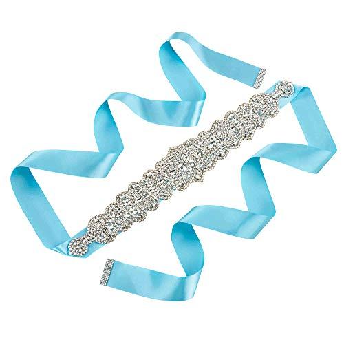 Sisjuly Rhinestone Bridal Sash Belt Women's Crystal Belt Wedding Gown Bridesmaid Sashes for Prom Formal Party Evening Dress (Grey)