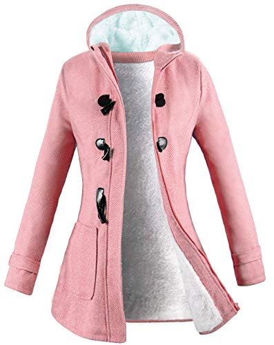 VOGRYE Womens Winter Fashion Outdoor Warm Wool Blended Classic Pea Coat Jacket (FBA) (S, Pink-Striple)