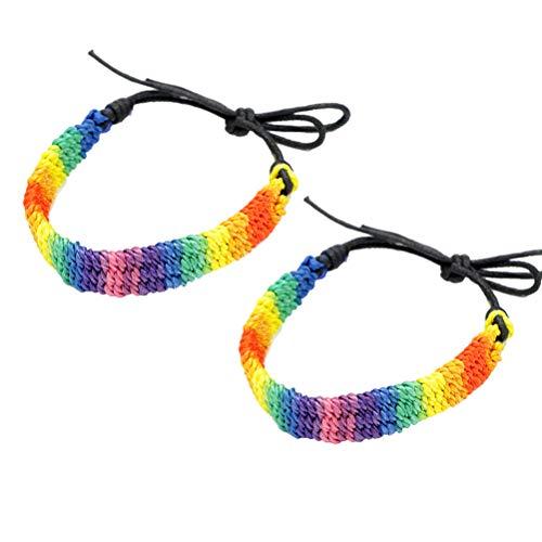 TENDYCOCO 2 Piezas LGBT Orgullo Pulseras Trenzadas Arcoiris Tejido Gay y Lesbiana Pulsera Pulsera Cadena Amistad Pulsera