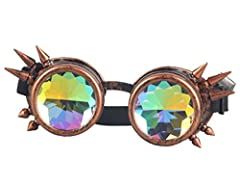 ZAIQUN Kaleidoscope Glasses Rivet Steampunk Windproof Mirror Vintage Gothic Rave Rainbow Crystal Lenses Steampunk Goggles #3