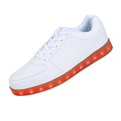 Topteck USB de carga de 7 colores de luz LED unisex zapatilla de deporte del zapato