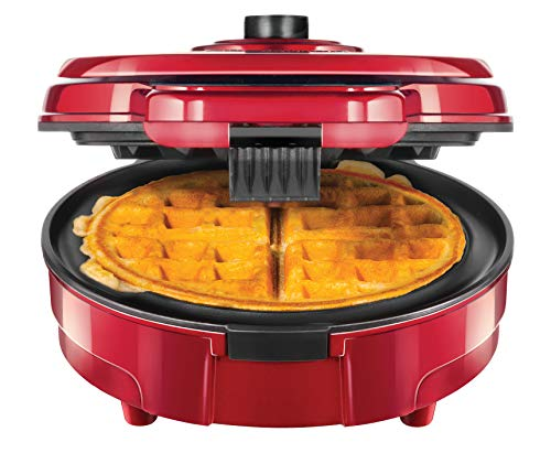Chefman Anti-Overflow Belgian Waffle Maker w/Shade Selector, Temperature Control Mess Free Moat, Round Iron w/Nonstick Plates & Cool Touch Handle, Measuring Cup Included, Red