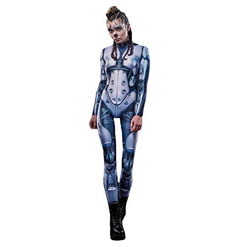 Halloween Roboter Kostüm, Mode Frauen Cosplay Kostüm Roboter Strumpfhose Sci-Fi Kostüm Party Halloween Nacht Karneval Kostüm-Blue-S