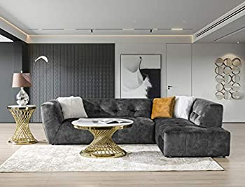 """Acanva Luxury Tufted Low Back Set Mid-Century Velvet Sectional Sofa Couch for Living Room L-Shape 2-Piece 113""""W Right Hand Facing Chaise Grey"""