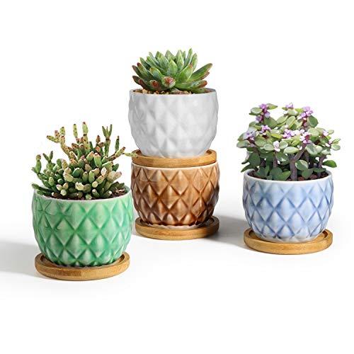 T4U 8cm 4pcs Pot de Succulent en Céramique avec Plateau en Bambou, Cactus Plante Planteur Cache Pot Jardinière Contenant Décoration de Maison Bureau Cadeau pour Anniversaire Mariage