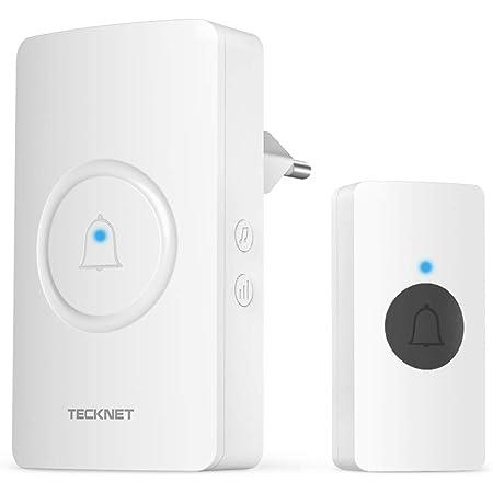 TECKNET Timbre Inalámbrico, Timbre Impermeable 1 Receptor y 1 Transmisor, Alcance de 300 m, Indicador LED, Resistente al Agua, 38 Melodías, 4 Niveles de Volumen (0-90 dB)