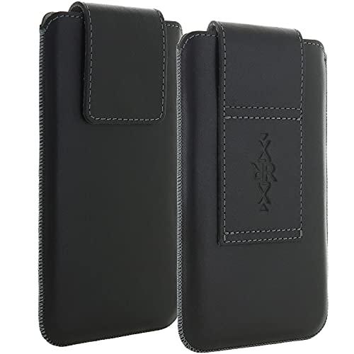 XiRRiX Echt Leder Gürtel universal Handytasche 4XL kompatibel mit Gigaset GS3 GS4 / Huawei P30 Pro / P40 Lite/OnePlus Nord / 8t / Samsung Galaxy A50 A51 A52 M21 M31 / S20 FE - Handy Tasche schwarz