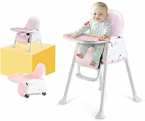 WUHUHAI Baby Hochstuhl Verstellbarer Babystuhl 3-in-1 Tragbarer Hochstuhl Faltbarer Fütterungssitz mit Tablett Aufbewahrung für 6 Monate bis 4 Jahre alt (Rosa)
