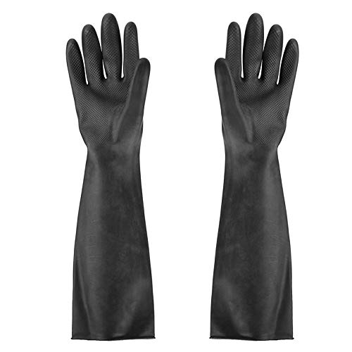 """Jewboer 2 Pairs 24"""" Chemical Resistant Gloves Industrial Gardening Natural Rubber Latex Gloves,Safety Work Cleaning Protective Heavy Duty Industrial Gloves"""