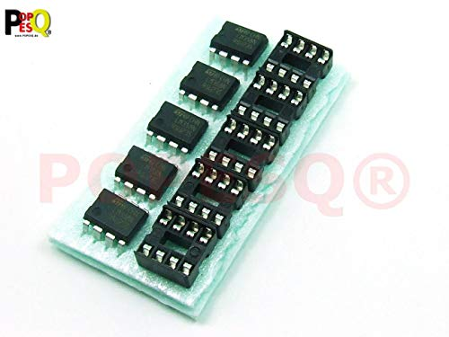 POPESQ® - STK. /Pcs. 5 x LM358 mit/with DIP8 Sockel/Socket Operationsverstärker Op Amp #A170