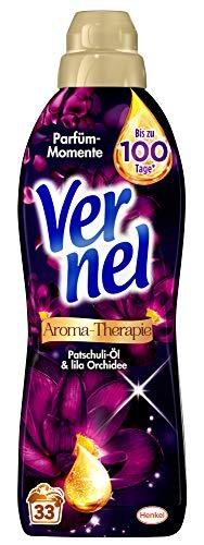 Vernel Aroma-Therapie Patschuli-Öl & lila Orchidee, Weichspüler, 132 (4 x 33) Waschladungen, für einen langanhaltenden Duft