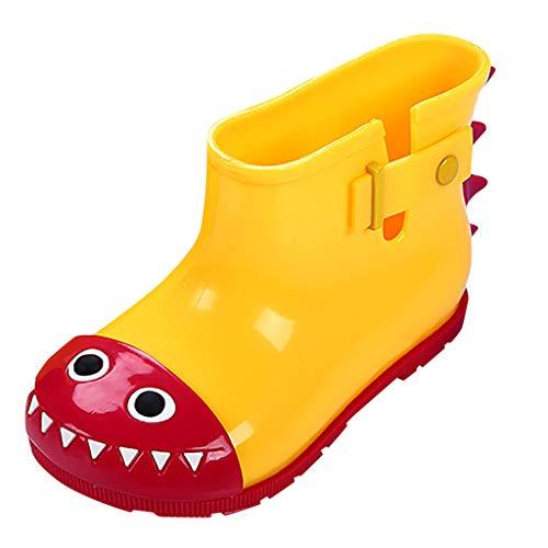 HDUFGJ Unisex-Kinder Süß Cartoon rutschfest Gummistiefel Schuhe Baumwollschuhe Stiefeletten Chelsea Boots Winterstiefel Reißverschluss Hoher Absatz Worker Boots29 EU(Gelb)