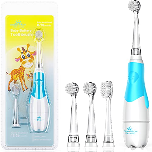 Baby Electric Toothbrush, Toddler Teeth Brushes with Smart LED Timer and...
