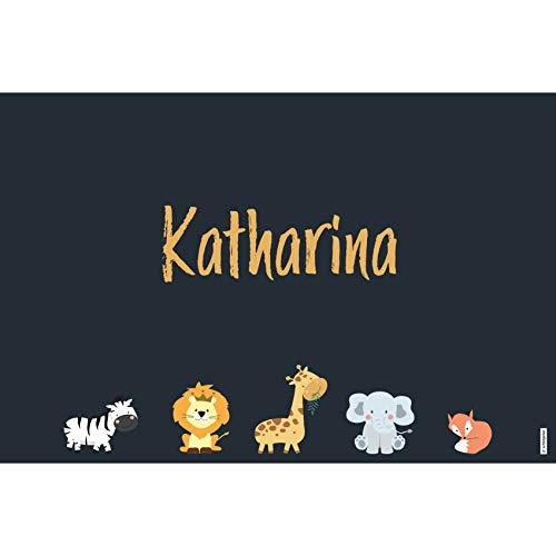 schildgetier Katharina Türschild Namensschild Katharina Geschenk mit Namen und süßen Tier Motiven 30 x 20 cm Dekoschild Schild mit Tieren