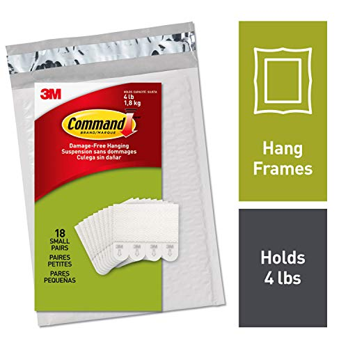Command Picture Hanging Strips, Decorate Damage-Free, 18 pairs (36 strips), Ships In Own Container (PH202-18NA),White