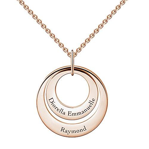 Soufeel Du & Ich Damen Namenskette mit Gravur Personalisiert 2 Disc Halskette 925 Sterling Silber Roségold vergoldet Besonderes Geschenk für Freundin Mutter