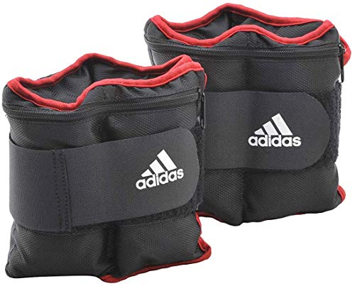 adidas Adjustable Ankle Weights - Black/Red/White, 2 kg, Pack of 2