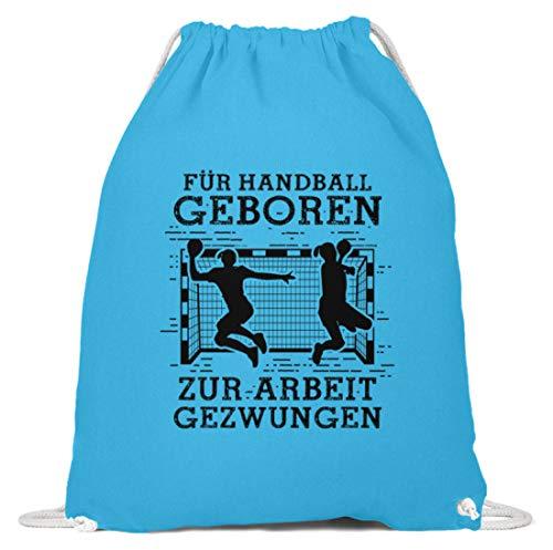 shirt-o-magic Handball-Fan: Für Handball geboren - Baumwoll Gymsac -37cm-46cm-Himmel-Blau
