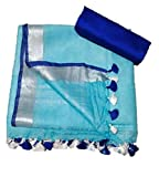 Anaya Handloom Women's Bhagalpuri Linen Saree With Blouse Piece (ANW0147_Blue, Sky Blue)