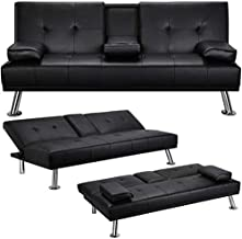 Yaheetech Futon Sofa Bed Convertible Sofa Couch Sleeper with Armrest Home Recliner Couch Home Living Room Furniture Black