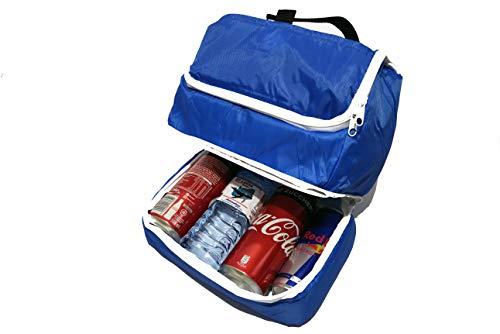 MKT - Borsa frigo con scompartimento per lattine e bottigliette, Termica ma Leggera - Ideale per Picnic, Lavoro, Sport, Viaggio, Gite all'Aria Aperta (Azzurra)