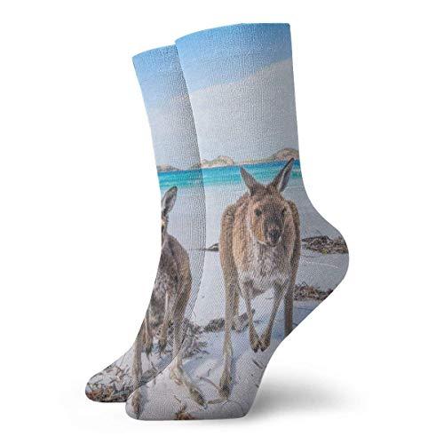 Sportliche Herrensocken Crew Socks Kangaroos Visiting Beach Hot Womens Sports Stocking Decoration Sock Clearance for Teens