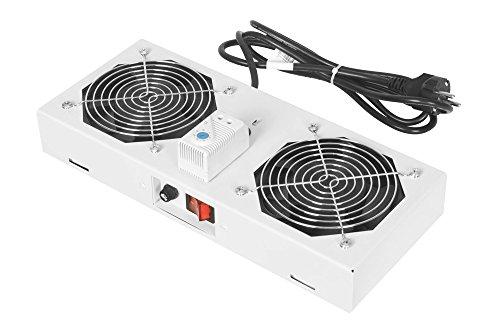 DIGITUS Dachlüftereinheit für Wandgehäuse, 276 m³/h freiblasender Volumenstrom, 2x Lüfter, Thermostat, Grau (RAL 7035)