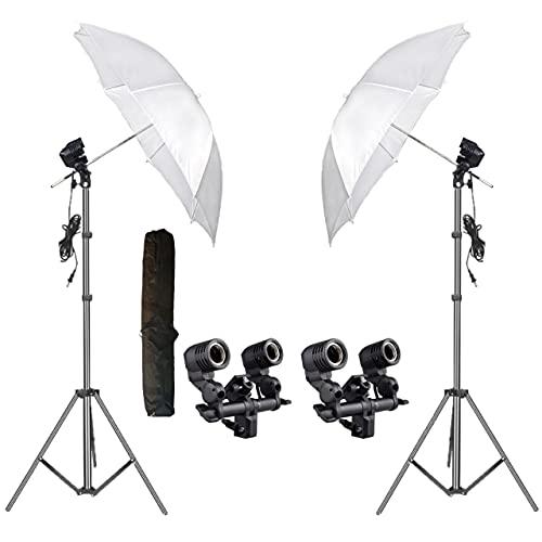 HIFFIN® E27 Studio Double Holder KIT Umbrella White + Studio Light Stand 9 FT+ Umbrella and Triple Holder KIT Set of 2 (2 x Double Holder   2 x Light Stand 9 feet   2 x Umbrella   1 x Bag)