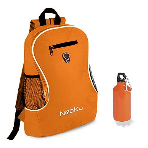 NEOKU - Mochila con portabotellas y botella de aluminio del mismo color...