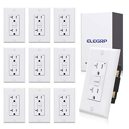 10 Pack ELEGRP 20 Amp GFCI Outlet, 5-20R Ultra Narrow GFI Dual Receptacle, TR Tamper Resistant with LED Indicator, Self-Test Ground Fault Circuit Interrupters, Wall Plate Included, UL Listed (White)
