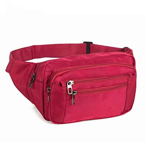 Paquete de Cintura Pack Casual Funcional Moda Hombres Impermeable Fanny Pack Mujeres Cinturón Bum Bag Masculino Teléfono Cartera Bolsas Unisex 3935Rojo