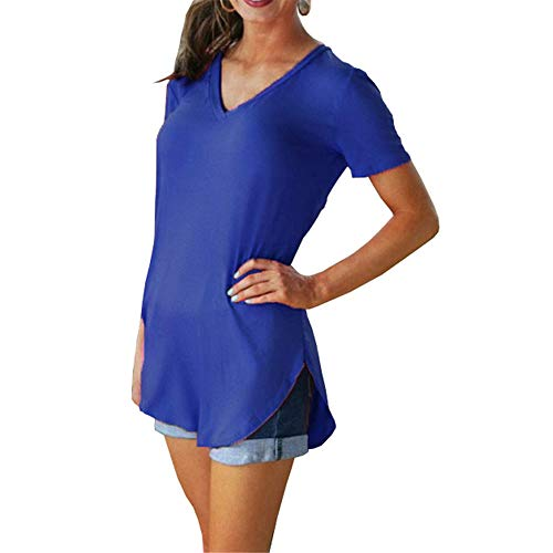 Morton PegfwaS Einfarbiges Kurzarm-T-Shirt mit V-Ausschnitt