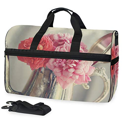 Rosen-Blumen-antike Silberne Teekanne Large Travel Duffel Tote Bag Weekend Overnight Travel Bag Gym Bag Fitness Sports Bag with Shoes Compartment