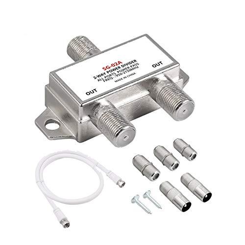 DZJUKD Divisor de Cable de Coaxer de 2 vías Moca 950-2150MHZ Cable de coaxial Digital con Cable de Parche Hecho de fábrica de 0.5 m con Enchufe Fit Fit Fit para Cable, módem,